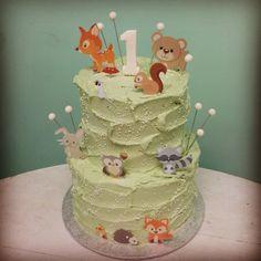 Forest animal birthday cake www.pinkribbonbakery.ca