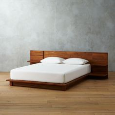 Acacia veneer platform bed integrates headboard nightstands with two cantilevered shelves each—one wide for books, one narrow with discreet cord cutouts for your light/phone/alarm clock. Wood Canopy Bed, Bed Frame And Headboard, Wood Beds, Metal Canopy, King Bed Headboard, King Bed Frame, Modern Bedroom Furniture, Bed Furniture, Home Decor Bedroom