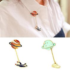 Vintage Designer Enamel Rabbit Spaceman Planet Brooch Pins Jewelry Accessories…
