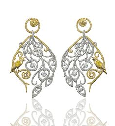 Nightingale White Peacock Earrings. Yellow and white diamonds in platinum and yellow gold