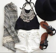 Festival outfit on the hunt Fashion Mode, Look Fashion, Teen Fashion, Fashion Outfits, Womens Fashion, Fashion Trends, Cute Summer Outfits, Spring Outfits, Mode Outfits