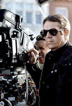 """""""Steve McQueen on the set of Bullitt (1968)."""""""