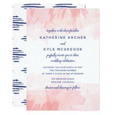 Navy Blue  Blush Watercolor Wash Wedding Card - summer wedding diy marriage customize personalize couple idea individuel