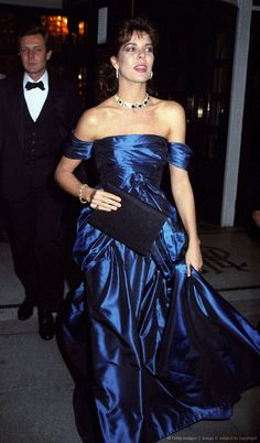 London November Princess Caroline at the 'Red Cross Ball', Park Lane Hotel with her second husband Stefano next to her. Andrea Casiraghi, Charlotte Casiraghi, Grace Kelly, Princess Alexandra, Princess Stephanie, Beatrice Borromeo, Caroline Von Monaco, Albert Von Monaco, Monaco Royal Family