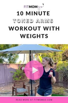 10 Minute Toned arms workout with weights #armworkout #upperbodyworkout #workoutforwomen Short Workouts, Cardio Workouts, Workout Tips, Workout Videos, At Home Workouts, Tone Arms Workout, Post Pregnancy Workout, Natural Parenting, Toned Arms