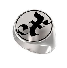 Letter X Ring Custom Initial Latin ABC Engraved Sterling Silver 925 Signet Crest #Signet