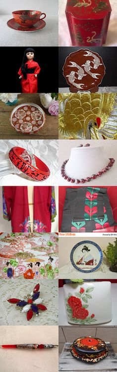 Red Kimono - teamvintageusa by Maile Baldwin on Etsy--Pinned+with+TreasuryPin.com