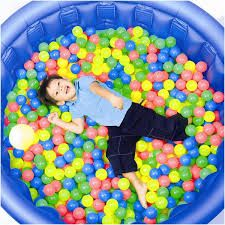 ball pit in plastic pool -