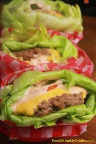 Food I Make My Soldier: Lettuce Wrapped Cheeseburgers