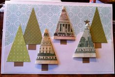 money tree card- fun way to give money for the holidays. Great way to win our Christmas card contest Noel Christmas, Homemade Christmas, Teacher Christmas Card, Christmas Gift Card Holders, Homemade Gifts, Homemade Cards, Craft Gifts, Diy Gifts, Money Cards