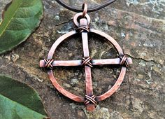 Celtic cross pendant - Odin's cross - Solar Cross - Wheel Cross Pendant - Copper Norse Sun Cross - Wiccan and Pagan Sun Cross Pagan Jewelry, Copper Jewelry, Wire Jewelry, Jewelry Art, Jewellery, Wire Pendant, Cross Pendant, Wiccan, Witchcraft