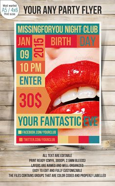 Party Flyer — Photoshop PSD #psd #60s • Available here → https://graphicriver.net/item/party-flyer/9134697?ref=pxcr