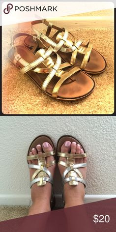 UGG metallic sandals In great condition! Super comfy! UGG Shoes Sandals