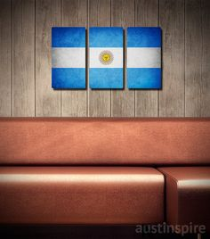 Items similar to Argentina Flag Triptych on Etsy Metal Flag, Argentina Flag, Pallet Flag, Flag Art, Urban Looks, My Beautiful Daughter, Triptych, Canvas Material, School Projects