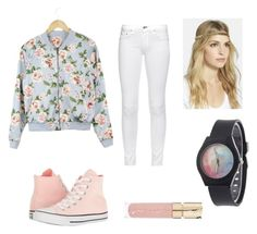 """""""Pink floral"""" by glennaprior ❤ liked on Polyvore featuring rag & bone, Converse, Smith & Cult and Tasha"""