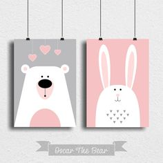 "Set of 2 posters ""Bear and Bunny"" Perfect decoration for children's room and nursery! Simple Canvas Paintings, Easy Canvas Art, Small Canvas Art, Mini Canvas Art, Diy Canvas, Baby Painting, Painting For Kids, Art For Kids, Kids Room Art"