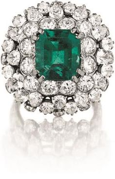David Webb Emerald and Diamond Ring