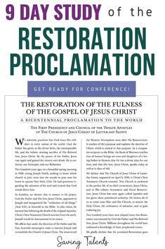 Restoration Proclamation Study by Paragrah | Saving Talents