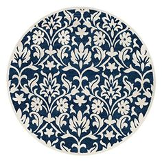 $140 Amazon.com: Safavieh AMT424P-7R Amherst Collection Navy and Ivory Indoor/Outdoor Round Area Rug, 7': Kitchen & Dining