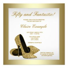 White Gold High Heels Womans 50th Birthday Custom Announcements http://www.zazzle.com/white_gold_high_heels_womans_50th_birthday_invitation-161729472189124317?rf=238194283948490074&tc=pfz #womans50thbirthdayparty #goldholidayparty #womansbirthdayparty #goldbirthdayparty #highheelbirthdayparty #goldwomans50thbirthdayparty #gold50thbirthday #gold #womans #fiftiethbirthday #50th #birthday #party #customannouncements #zazzle