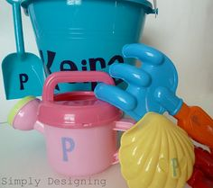 use vinyl letters to personalize kids' sand toys- prevent toys from getting mixed up with other kids' toys at the park!