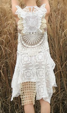 OOAK Vintage Lace Handmade Wedding Dress Altered Couture Cotton Doilies  Upcycled.  575.00 26ba390a3363