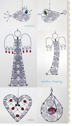 Wire and beads..Hmm... I could make Christmas Ornaments!!!! .oO Gift Idea…