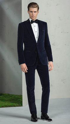 2017 Fashion Navy Blue Velvet Groom Tuxedos Italian Style Tailor Made Mens Wedding Party Suits Bridegroom Suit(Jacket+Pants)