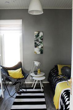 uncategorized Minimalist bedroom with pop of color How to get color with minimal decor Addin . Modern Bedroom Design, Modern Interior Design, White Room Decor, White Bedroom, Grey Bedroom With Pop Of Color, Bedroom Turquoise, Apartment Bedroom Decor, Minimal Decor, Bedroom Layouts