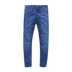 Classic Blue Denim Jeans Slim Straight Leg