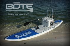 Bote Paddle Board - love that you can add a yeti cooler and the fish stand helps you with your fishing gear.