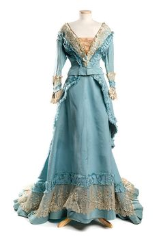 Sky blue silk faille dress, 1870s, designed and labeled by Mme. Gabrielle / Robes & Confections / 205 Rue St. Honoré in Paris. From the collections of the Charleston Museum. #vintage #fashion #victorian