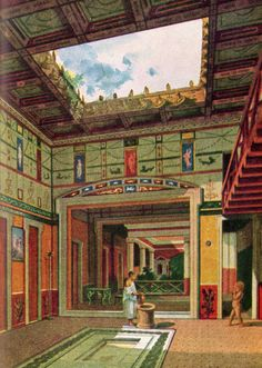 Artist impression of the atrium inside a villa in Pompeii or Herculaneum. Ancient Pompeii, Pompeii And Herculaneum, Ancient Art, Ancient History, Roman Architecture, Ancient Architecture, Roman History, Art History, Pompeii Italy