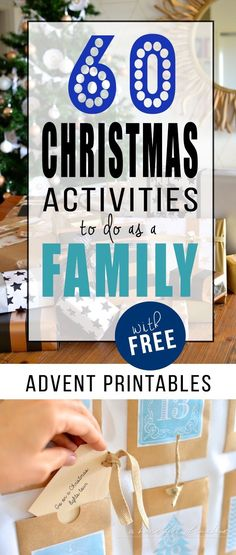 60 Christmas Activities to do as a Family (with FREE Advent printables!) These Christmas activities are some of the best I've seen. Print the free tags and add your favourites to your advent calendar, or just put them in a jar and pull one out each day leading up to Christmas! So looking forward to trying these with my kids! | From A house full of sunshine