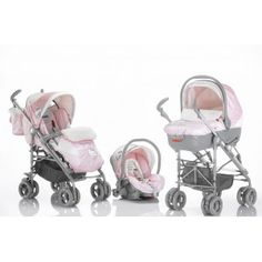hello kitty stroller , car seat and a bassent