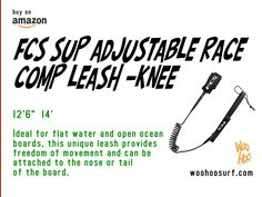 FCS Adjustable SUP Race Comp Knee Paddleboard Leash