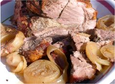 Hands down the best pork roast I've ever had.  Roast Pork with Caramalized Onions Recipe from Claro's Italian Markets