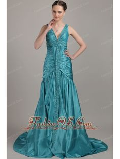 Teal A-line V-neck Brush Train Taffeta Beading and Ruch Prom / Evening Dress  http://www.fashionos.com/  http://www.facebook.com/quinceaneradress.fashionos.us  The bodice features wide gathered straps with beaded accents, a V neckline with beaded trim and a lovely mini-train. The empire-waist skirt features soft, clean lines, which create a lovely silhouette when worn. A handy zip closure makes for easy off and on and completes this pretty prom design.
