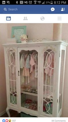 DIY - Repurposed China Hutch Displaying Little Girls Clothes.Great Addition to a Nursery! Its a Labor of Love Using Annie Sloan Chalk Paint. More - Baby Nursery Today Refurbished Furniture, Repurposed Furniture, Furniture Makeover, Repurposed China Cabinet, Painted Furniture French, Painted Nursery Furniture, China Cabinet Redo, China Cabinet Display, Dresser Makeovers