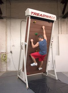 Made by Brewer's Ledge, it's like a treadmill for rock climbers.  Instead of a static wall of rocks like usual indoor climbing equipment, though, it gives you a rotating climbing wall so you can climb as high as you can and never have to worry about coming back down.