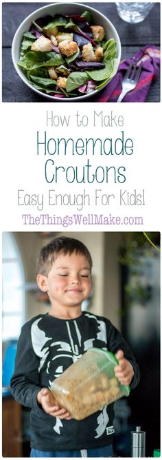 Don't let your stale bread go to waste! My young son and I will show you how to make homemade croutons from bread. It's so easy that it's a great beginner recipe for kids! via @thethingswellmake