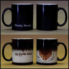 This is a black morphing (heat activated) mug with a Harry Potter themed design on it. The black portion of the mug becomes clear when a hot