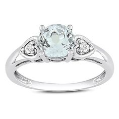 Amour 10K White Gold White Topaz and Diamond Engagement Ring (.06 Cttw, G-H Color, I2-I3 Clarity) #Canada #jewlery