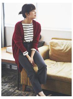 Korean Girl Fashion, Look Fashion, Fashion Outfits, Fashion Goth, Kids Outfits, Casual Outfits, Cute Outfits, Uniqlo Women Outfit, Stripes
