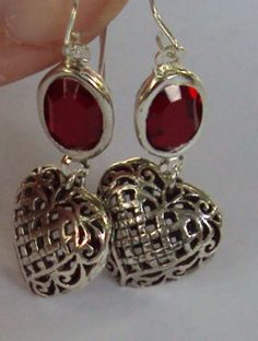 Swarovski Siam red crystal  and sterling puffed by BeautyOffered, $40.00