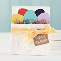Cute handmade Easter card featuring an Easter basket full of colorful eggs!