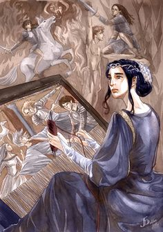 A Tapestry of Sorrows- Queen Miriel Serinde first wife of High King Finwë and mother of Fëanor by Jenny Dolfen (Gold-Seven)