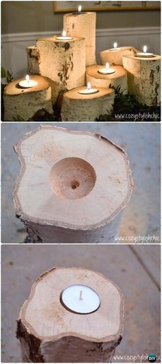 DIY Tree Stump Candle Holders Instructions - Raw Wood Logs and Stumps DIY Ideas Projects