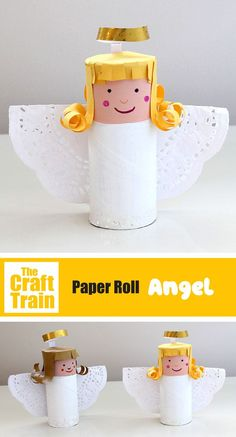 Easy paper roll angel craft idea for kids. This is an easy kids recycling craft for Christmas which looks lovely on the mantlepiece idea the world training craft craft diy craft for kids craft no sew craft to sale Christmas Angel Crafts, Christmas Decorations For Kids, Christmas Crafts For Kids To Make, Easy Crafts For Kids, Toddler Crafts, Kids Christmas, Diy For Kids, Toddler Toys, Homemade Christmas