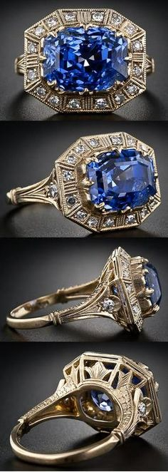 8.62 carat Art Deco-style sapphire and diamond ring